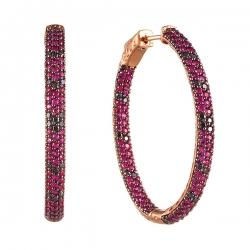 Серьги из розового золота 585 пробы с бриллиантами и рубинами