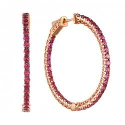 Серьги из розового золота 585 пробы с турмалинами