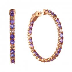 Серьги из розового золота 585 пробы с бриллиантами и танзанитами