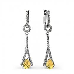 Серьги из белого золота с цитрином и бриллиантом