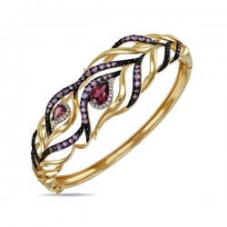 Золотой браслет Перо c аметистами, бриллиантами и родолитами