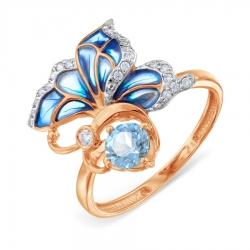 Золотое кольцо с эмалью и топазом, фианитами