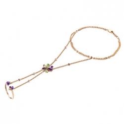 Золотой браслет c аметистами, бриллиантами и перидотами
