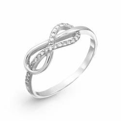 Кольцо Знак бесконечности из белого золота с бриллиантами