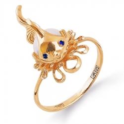 Золотое кольцо Море с белым жемчугом, фианитами