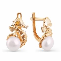Золотые серьги Морской конек с белым жемчугом