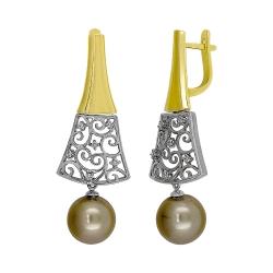 Эксклюзивные серьги из комбинированного золота с жемчугом и бриллиантами