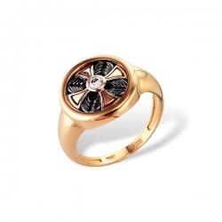 Кольцо-печатка из золота с бриллиантом