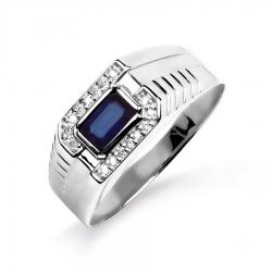 Мужское кольцо из белого золота с сапфиром, бриллиантами