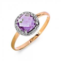 Золотое кольцо с аметистом, фианитами