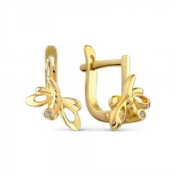 Детские серьги Стрекозы из желтого золота с бриллиантами