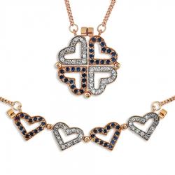 Золотое колье Сердечки с сапфирами, бриллиантами, магнитами