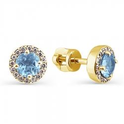 Серьги-гвоздики из желтого золота с топазом и бриллиантом