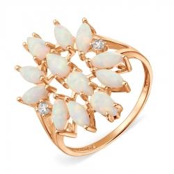 Золотое кольцо с опалами, фианитами