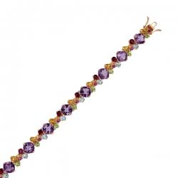 Золотой браслет c аметистами, топазами, цитринами, бриллиантами, перидотами и родолитами