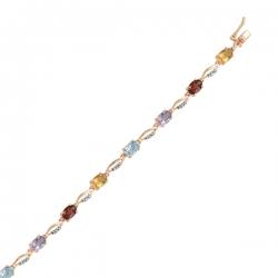 Золотой браслет c аметистами, топазами, цитринами, бриллиантами и гранатами