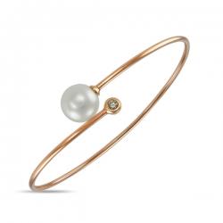 Золотой браслет c бриллиантом и белым жемчугом