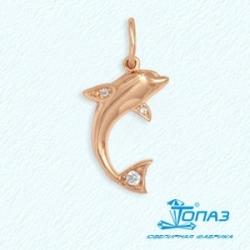 Золотая подвеска Дельфин с фианитами