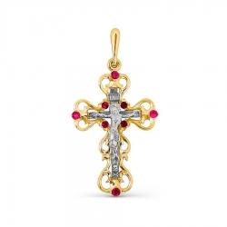 Крестик из желтого золота с рубином