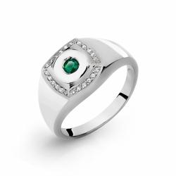 Мужское кольцо из белого золота с бриллиантами, ониксом
