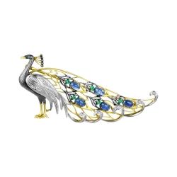 Эксклюзивная брошь Павлин из жёлтого золота с бриллиантами, изумрудом, сапфирами