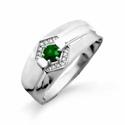 Мужское кольцо из белого золота с изумрудом, бриллиантами