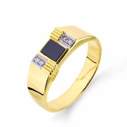 Печатка из желтого золота с фианитами