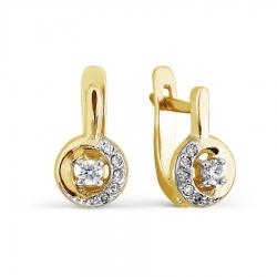 Детские серьги из желтого золота с бриллиантами