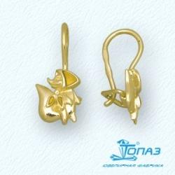 Детские серьги Лиса из желтого золота с эмалью