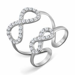 Кольцо Бесконечность из белого золота с фианитами
