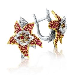 Серьги Цветы из белого золота с рубинами, бриллиантами