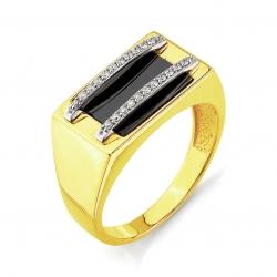 Печатка из желтого золота с бриллиантами, эмалью