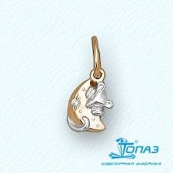 Детская золотая подвеска Мышка с фианитом