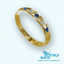 Кольцо обручальное из желтого золота с сапфирами