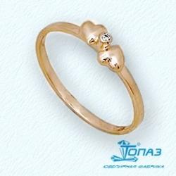 Детское золотое кольцо Сердечки с фианитом