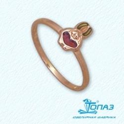 Детское золотое кольцо Кролик с эмалью