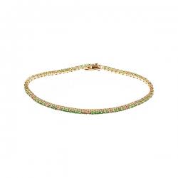Браслет из золота 585 пробы с бриллиантами и цаворитами