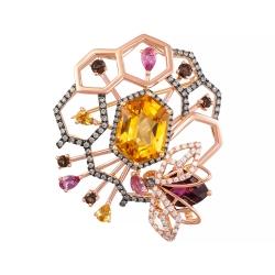 Брошь-подвеска Пчелка из золота с бриллиантами и цветными полудрагоценными камнями