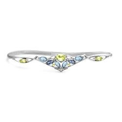 Браслет наладонный из серебра с цветными камнями