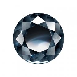 Сертифицированный черный бриллиант круглой огранки