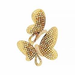 Брошь-подвеска из золота с бриллиантами и сапфирами (бабочки)