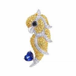 Брошь-подвеска из белого золота с бриллиантами и сапфирами (сердце, птицы)