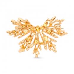 Брошь Лист из красного золота с цитринами