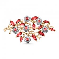 Брошь Цветы из красного золота с гранатами