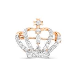 Брошь Корона из красного золота с фианитами