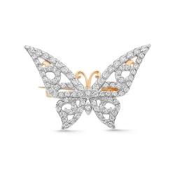 Брошь Бабочка из красного золота с фианитами