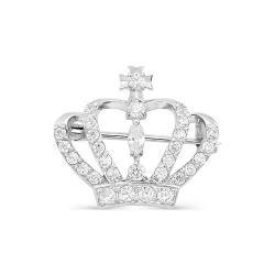 Брошь Корона из белого золота с фианитами