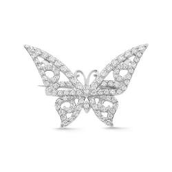 Брошь Бабочка из белого золота с фианитами