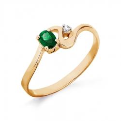 Золотое кольцо с изумрудом, бриллиантом