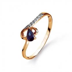 Золотое кольцо с сапфиром, бриллиантами